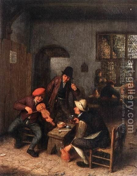 Interior of a Tavern with Violin Player by Adriaen Jansz. Van Ostade - Reproduction Oil Painting