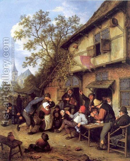 Merrymaking Outside an Inn by Adriaen Jansz. Van Ostade - Reproduction Oil Painting