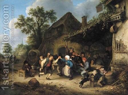Peasants Carousing and Dancing outside an Inn 1660 by Adriaen Jansz. Van Ostade - Reproduction Oil Painting