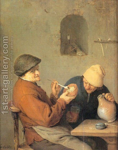 The Drinker and the Smoker by Adriaen Jansz. Van Ostade - Reproduction Oil Painting