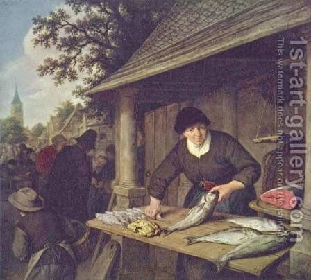 The Fishwife 1672 by Adriaen Jansz. Van Ostade - Reproduction Oil Painting