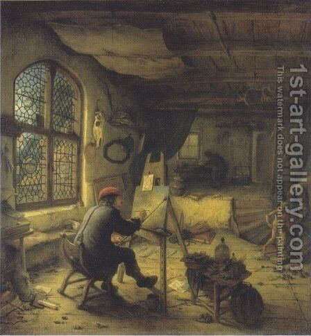 The Painter in His Studio 1663 by Adriaen Jansz. Van Ostade - Reproduction Oil Painting