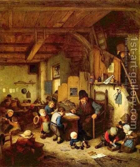 The School Master 1662 by Adriaen Jansz. Van Ostade - Reproduction Oil Painting