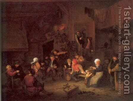 Villagers Merrymaking at an Inn 1652 by Adriaen Jansz. Van Ostade - Reproduction Oil Painting