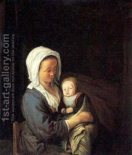 Woman Holding a Child in her Lap 1652 by Adriaen Jansz. Van Ostade - Reproduction Oil Painting