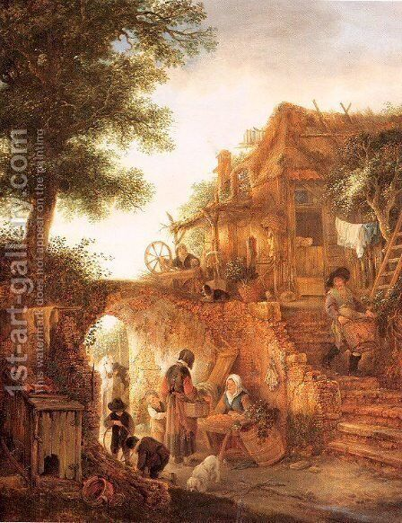 A Woman Selling Fruit by a Cottage by Isaack Jansz. van Ostade - Reproduction Oil Painting