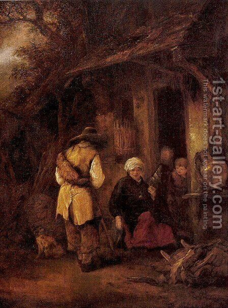 Rest by a Cottage 1648 by Isaack Jansz. van Ostade - Reproduction Oil Painting