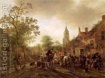 The Halt at the Inn 1645 by Isaack Jansz. van Ostade - Reproduction Oil Painting