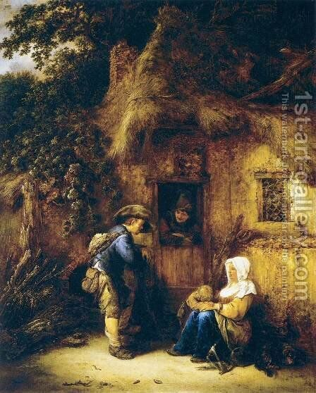 Traveller at a Cottage Door 1649 by Isaack Jansz. van Ostade - Reproduction Oil Painting