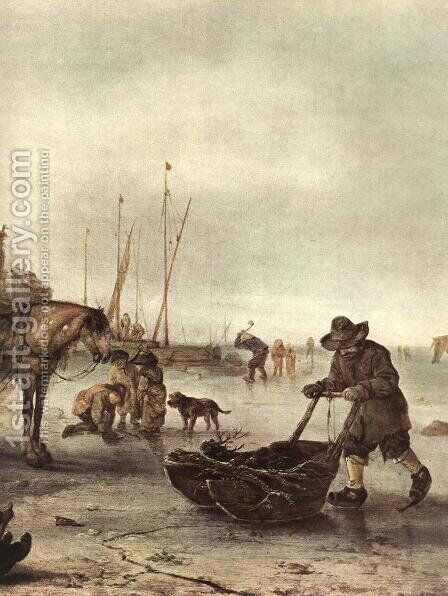 Winter Landscape (detail) c. 1643 by Isaack Jansz. van Ostade - Reproduction Oil Painting