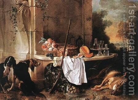 Dead Wolf 1721 by Jean-Baptiste Oudry - Reproduction Oil Painting