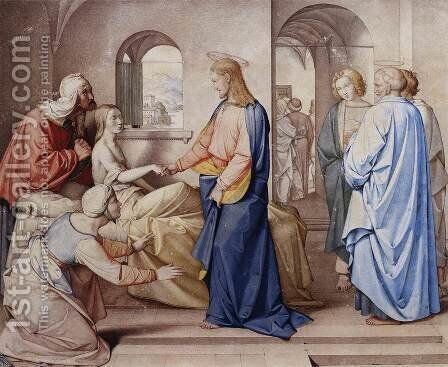 Christ Resurrects the Daughter of Jairu 1815 by Johann Friedrich Overbeck - Reproduction Oil Painting