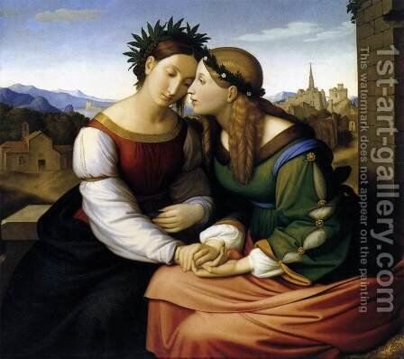 Italia and Germania 1815-28 by Johann Friedrich Overbeck - Reproduction Oil Painting
