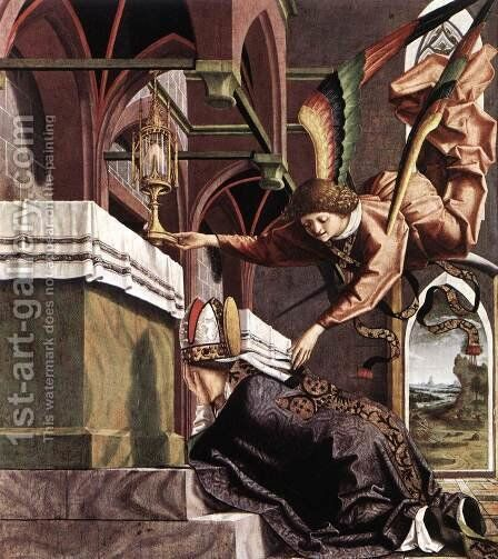 Altarpiece of the Church Fathers- Vision of St Sigisbert c. 1483 by Michael Pacher - Reproduction Oil Painting