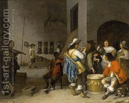 Guardroom Scene 1656 by Anthonie Palamedesz. (Stevaerts, Stevens) - Reproduction Oil Painting