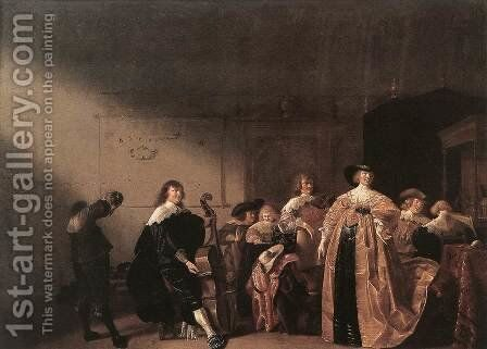 Party Scene with Music 1635-40 by Anthonie Palamedesz. (Stevaerts, Stevens) - Reproduction Oil Painting