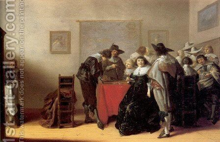 Elegant Company Gaming and Drinking 1632-34 by Anthonie Palamedesz. (Stevaerts, Stevens) - Reproduction Oil Painting