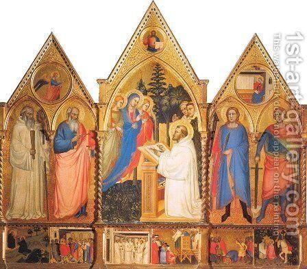 St. Bernard's Vision of the Virgin  with Saints by Matteo di Pacino - Reproduction Oil Painting