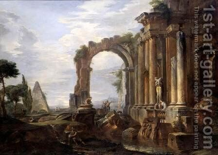 Capriccio of Classical Ruins 1725-30 by Giovanni Paolo Pannini - Reproduction Oil Painting