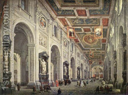 Interior of the San Giovanni in Laterano in Rome by Giovanni Paolo Pannini - Reproduction Oil Painting