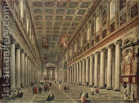 Interior of the Santa Maria Maggiore in Rome c. 1730 by Giovanni Paolo Pannini - Reproduction Oil Painting