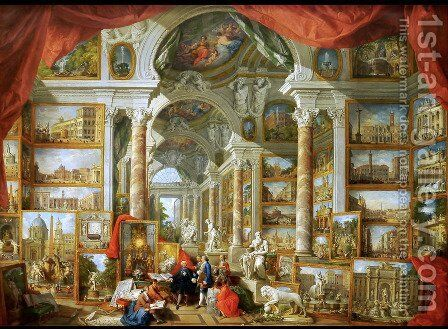 Picture Gallery with Views of Modern Rome 1757 by Giovanni Paolo Pannini - Reproduction Oil Painting