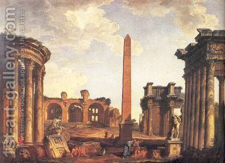 Roman Capriccio by Giovanni Paolo Pannini - Reproduction Oil Painting