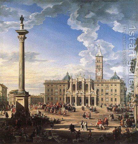 The Piazza and Church of Santa Maria Maggiore 1744 by Giovanni Paolo Pannini - Reproduction Oil Painting