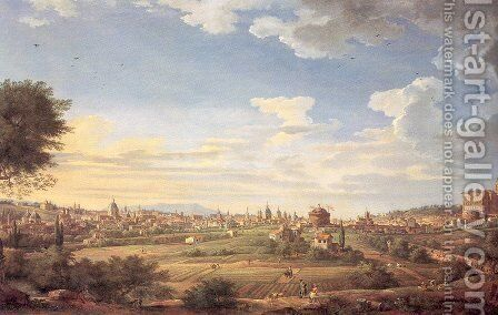 View of Rome from Mt. Mario, In the Southeast 1749 by Giovanni Paolo Pannini - Reproduction Oil Painting