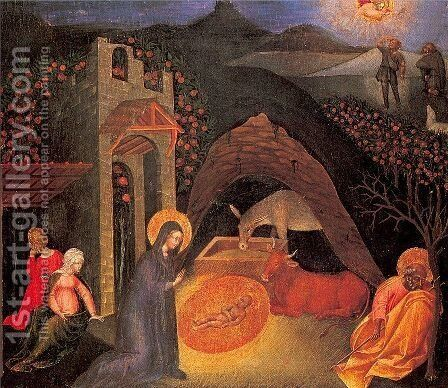 Nativity Approx. 1440-45 by Giovanni di Paolo - Reproduction Oil Painting