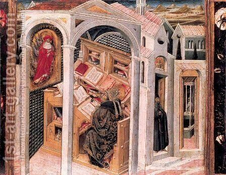 St. Jerome Appearing to St. Augustine 1465 by Giovanni di Paolo - Reproduction Oil Painting