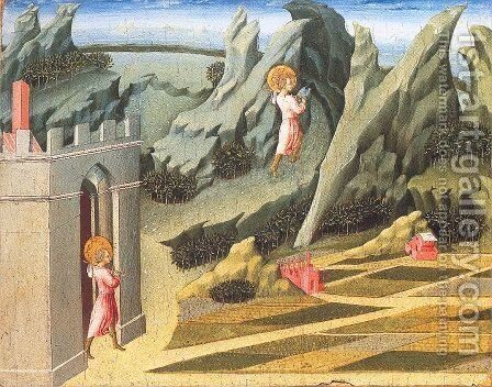 St. John the Baptist Retiring to the Desert 1453 by Giovanni di Paolo - Reproduction Oil Painting