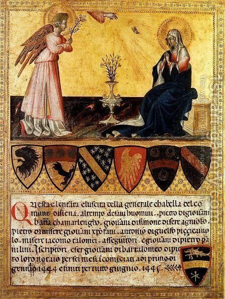 The Annunciation 1445 by Giovanni di Paolo - Reproduction Oil Painting
