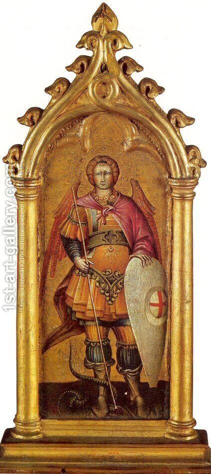 The Archangel Michael Approx. 1436-40 by Giovanni di Paolo - Reproduction Oil Painting