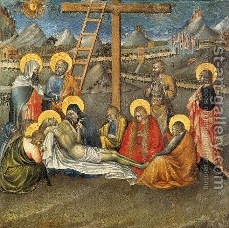 The Lamentation 1445 by Giovanni di Paolo - Reproduction Oil Painting