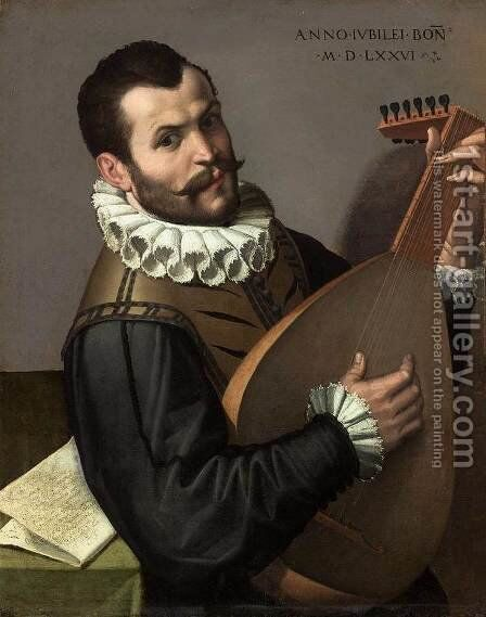 Portrait of a Man Playing a Lute 1576 by Bartolomeo Passerotti - Reproduction Oil Painting