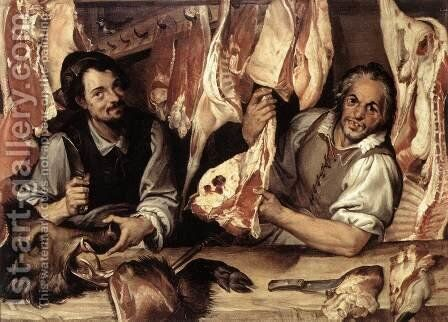 The Butcher's Shop 1580s by Bartolomeo Passerotti - Reproduction Oil Painting