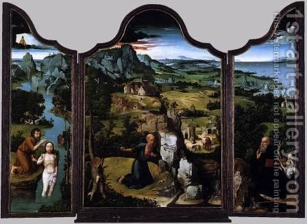 Triptych c. 1520 by Joachim Patenier (Patinir) - Reproduction Oil Painting