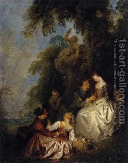 Conversation Galante 1720-23 by Jean-Baptiste Joseph Pater - Reproduction Oil Painting