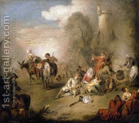 Soldiers and Camp Followers Resting from a March c. 1730 by Jean-Baptiste Joseph Pater - Reproduction Oil Painting