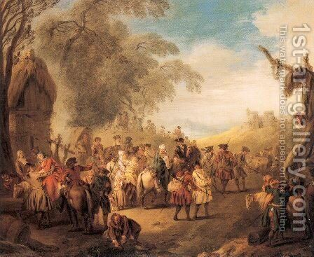Stopping at an Inn  1728 by Jean-Baptiste Joseph Pater - Reproduction Oil Painting