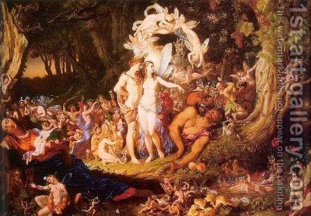 The Reconciliation of Oberon and Titania 1847 by Sir Joseph Noel Paton - Reproduction Oil Painting