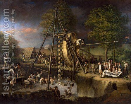 Disinterment of the Mastodon  1806-08 by Charles Willson Peale - Reproduction Oil Painting