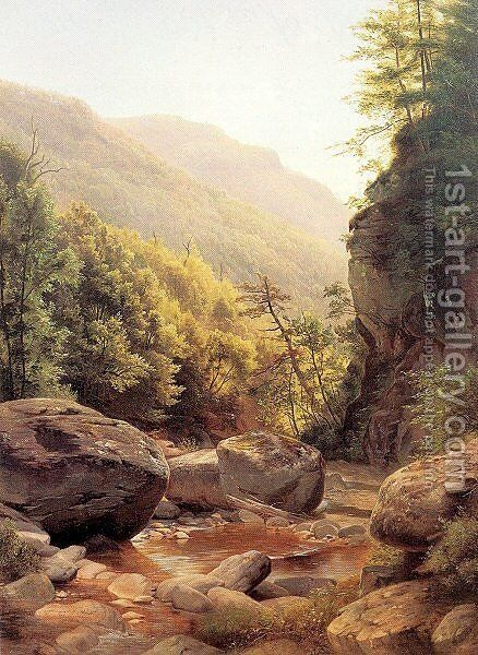 View in the Kaaterskill Cove 1858 by Harriet Cany Peale - Reproduction Oil Painting