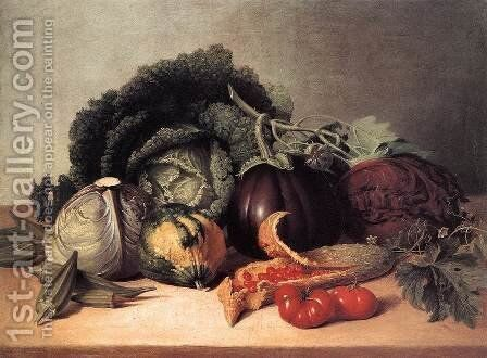 Still Life- Balsam Apples and Vegetables 1820s by James Peale - Reproduction Oil Painting