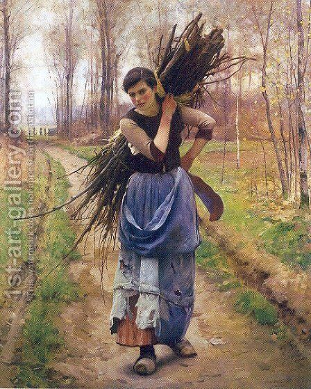 The Woodcutter's Daughter 1890s by Charles Sprague Pearce - Reproduction Oil Painting