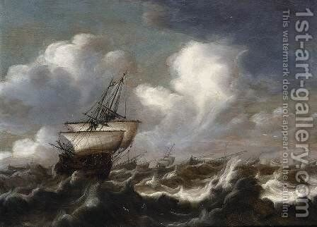 Shipping at Sea in a Light Breeze by Bonaventura, the Elder Peeters - Reproduction Oil Painting