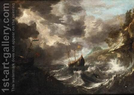 Shipping in a Tempest off a Rocky Coast by Bonaventura, the Elder Peeters - Reproduction Oil Painting