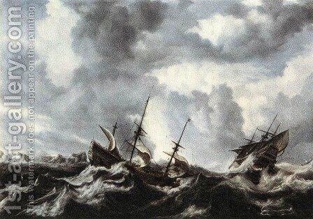 Storm on the Sea 1632 by Bonaventura, the Elder Peeters - Reproduction Oil Painting