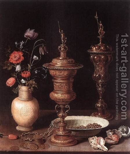 Still-Life with Flowers and Goblets 1612 by Clara Peeters - Reproduction Oil Painting
